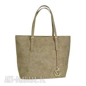 manzana klasyczna duża torebka miejski styl beżowa muflon, klasyczna