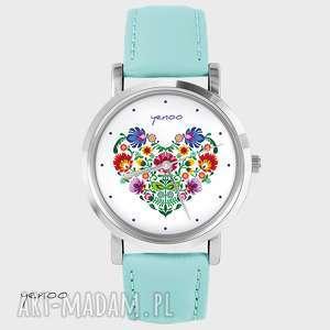 Prezent Zegarek, bransoletka - Folkowe serce turkusowy, skórzany, zegarek, grafika