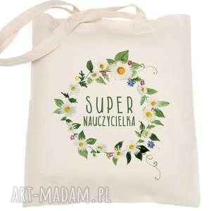 handmade torba eko na zakupy dla nauczyciela super nauczycielka - dzień