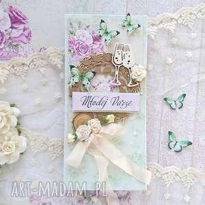 kartka zielona na ślub w pudełku, młoda para, róże, ślub, motyle