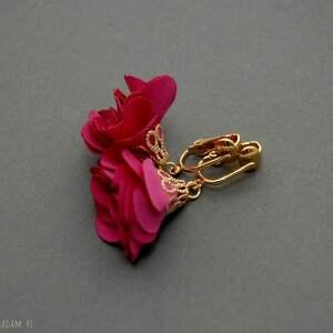 klipsy z kwiatkami, kwiat, eleganckie, wiszące, fuksja, małe, kwiatek