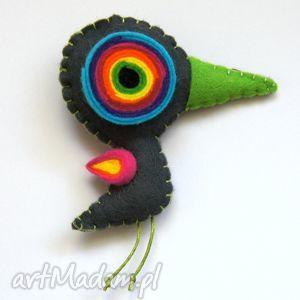 ptaszydełko - filc, ptak, koło, tęcza, lekki, miękki
