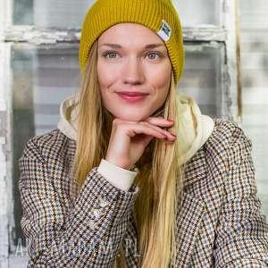 czapa dwustronna logo kolorowe miodowa musztarda, beanie, czapka musztardowa