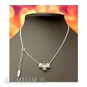 naszyjniki delikatny srebrny naszyjnik z kryształkami, naszyjnik, srebro, piórko