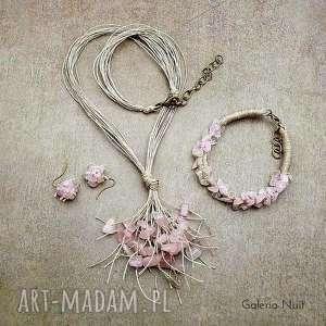 Kwarc różowy - 3-częściowy komplet biżuterii, kwarc, pastelowy, jasny, delikatny