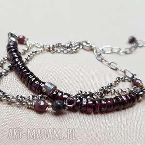 bransoletka ze srebra i granatu 764, srebro, elegancka bransoleta, kobieca