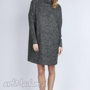 Dzianinowa sukienka, SUK135 grafit, ciepła, dzianina, luźna, oversize, golf