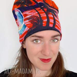 czapka no 24, kolorowa czapka, palmy, wzór palmowy, liście żeglarz