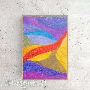 abstrakcyjny rysunek w ramce, oprawiony obrazek, kolorowa dekoracja na ścianę