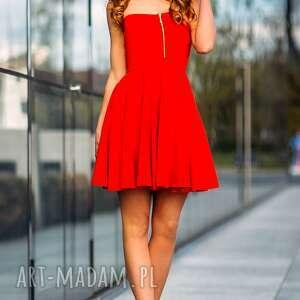 sukienka mini z gorsetowym przodem t122 kolor czerwony - tessita - sukienka, gorsetowa