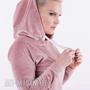 aksamitna bluza róż - emma, dres, spodnie, płaszcz, bluza, sukienka, spódnica