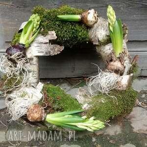 dekoracje wiosenny wianek na drzwi lub stół, wiosna, natura, hiacynt, mech