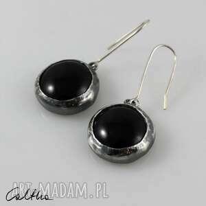 czarne w srebrze - kolczyki 200822-01, kolczyki, klipsy, wiszące, szklane, szkło