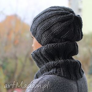 hand-made czapki komplet czapka i golfiak ręcznie dziergany ciemnoszary