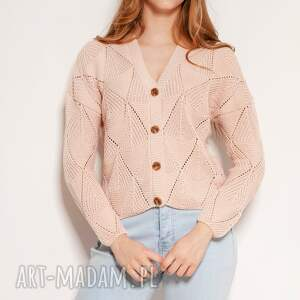 hand-made swetry ażurowy sweter na guziki - swe143 róż