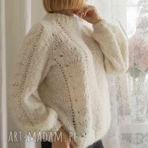 swetry lekki sweter z ażurem, sweter, ażur, ecru, wełniany, casual, dziergany