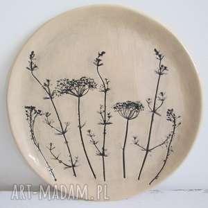 patera ceramiczna z roślinkami, talerz, dekoracyjny, ozdobny, ceramiczny, roślinny