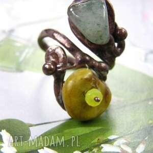 regulowany pierścionek z kamieniem awenturyn, regulowany, kamieni, awenturyn