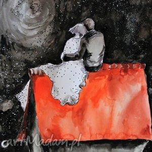 Akwarela NA DACHU artystki plastyka Adriany Laube, akwarela, miłość, zakochani