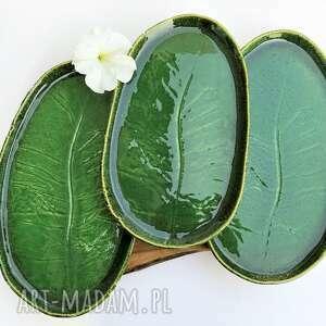 ceramika patera talerz dekoracyjny z liściem - zestaw 3 szt, ceramika