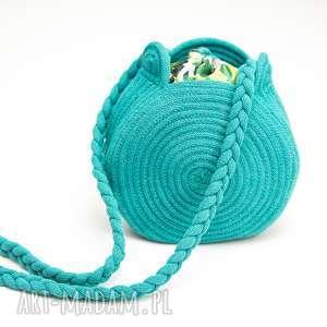 na ramię torebka okrągła must-have, torebka, bawełna, okrągłą, sznurek