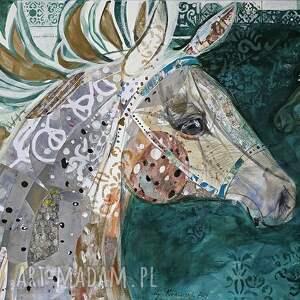 plakat a2 - koń w zieleni szmaragdowej, plakat, wydruk, koń, obraz, reprodukcja