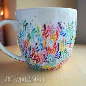 Kubek ręcznie malowany wielokolorowy kubki ciepliki dla niej