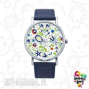 Zegarek z grafiką kaszubskie kwiaty zegarki ludowelove kaszuby