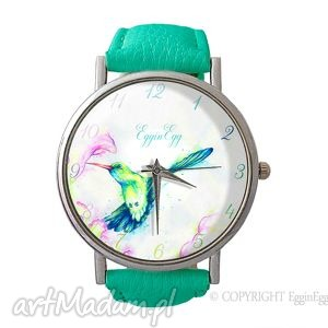 Koliber - Skórzany zegarek z dużą tarczą - ,skórzany,zegarek,koliber,turkusowy,ptak,
