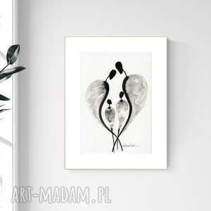 grafika a4 malowana ręcznie, minimalizm, abstrakcja czarno-biała, 2476584