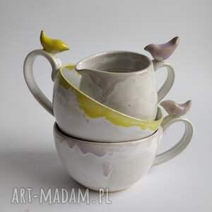 handmade ceramika dwie filiżanki i dzbanuszek