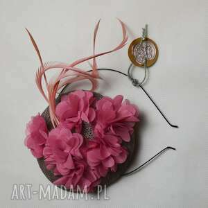 Różowa dama ozdoby do włosów fascynatory fascynator, róż, szary,