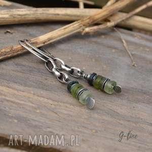 kolczyki z zielonym szkłem antycznym, srebro, szkło afgańskie, wiszące