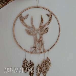 łapacz snów z geometrycznym jeleniem, boho, leśne, skandynawski, skandi