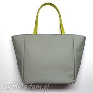 Prezent Shopper Bag Worek - szary i rączki limonka, elegancka, nowoczesna, prezent