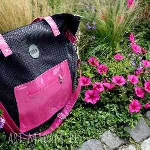 pracownia mana torba worek z plecionki różowymi dodatkami pocket, damska