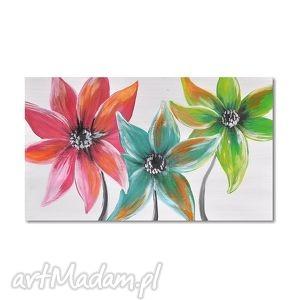 tęczowe kwiaty, nowoczesny obraz ręcznie malowany, obraz, nowoczesny,