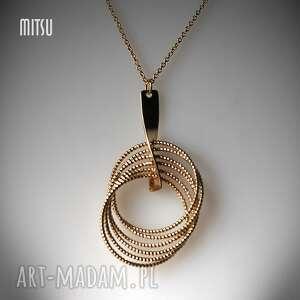 Naszyjnik Golden Rings, złoty, koła, geometryczny, glamour, delikatny, elegancki