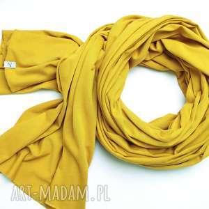 CEYLON YELLOW szal chusta szalik bawełniany na jesień, modny musztardowy SZAL damski