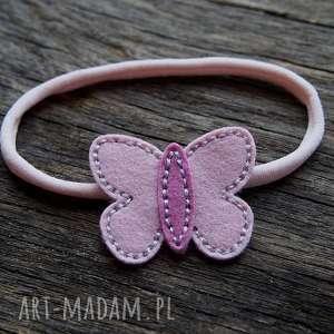 ozdoby do włosów butterfly opaska różowa, opaska, filc, motylek