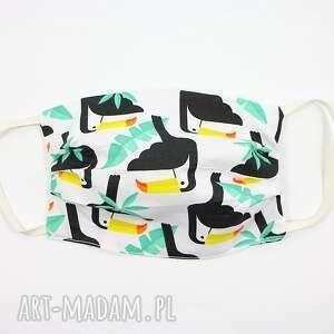 maska bawełniana dwuwarstwowa maseczka ochronna tukan, ochronna