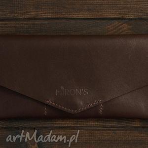 kopertówka czekoladowa , portfel, portfelik, kopertówka, skóra, skórzana, naturalna