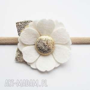 ozdoby do włosów opaska kwiatek biały kolekcja roma, dla dziewczynki