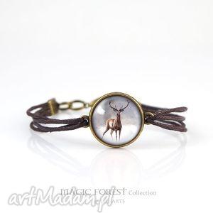 handmade bransoletka - jeleń 2 brązowa, antyczny brąz, sznureczki