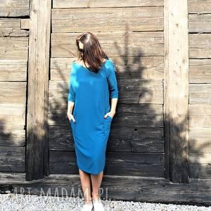 sukienka z kieszeniami w kolorze morskim, sukienka, midi, morski