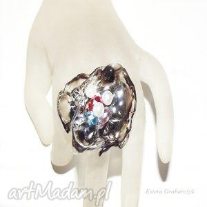 artystyczny pierścionek z perełkami, pierścionek, jedyny, artystyczny, akryl