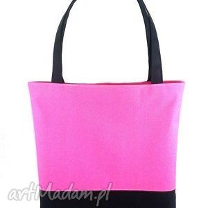 wyjątkowy prezent, shopper fuchsia black, torebka, shopper, wygodna, pojemna, kodura