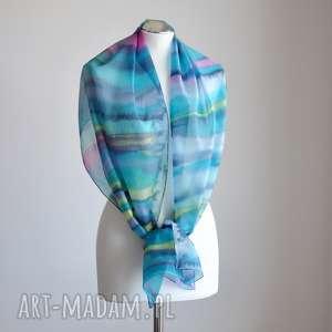 ręcznie robione chustki i apaszki jedwabny malowany szal - kolorowe pasy