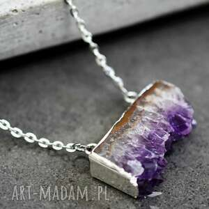 ametyst posrebrzany łańcuszek - kamień, amentyst, fiolet, łańcuszek