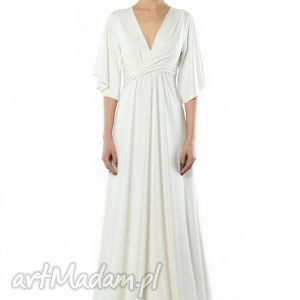 Magdalena Maxi White, ślubna, wieczorowa, biała, długa